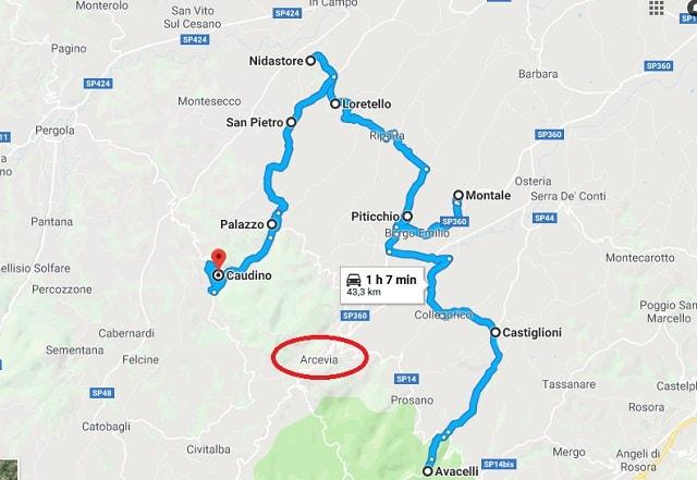 La mappa dei castelli di Arcevia su Google Maps