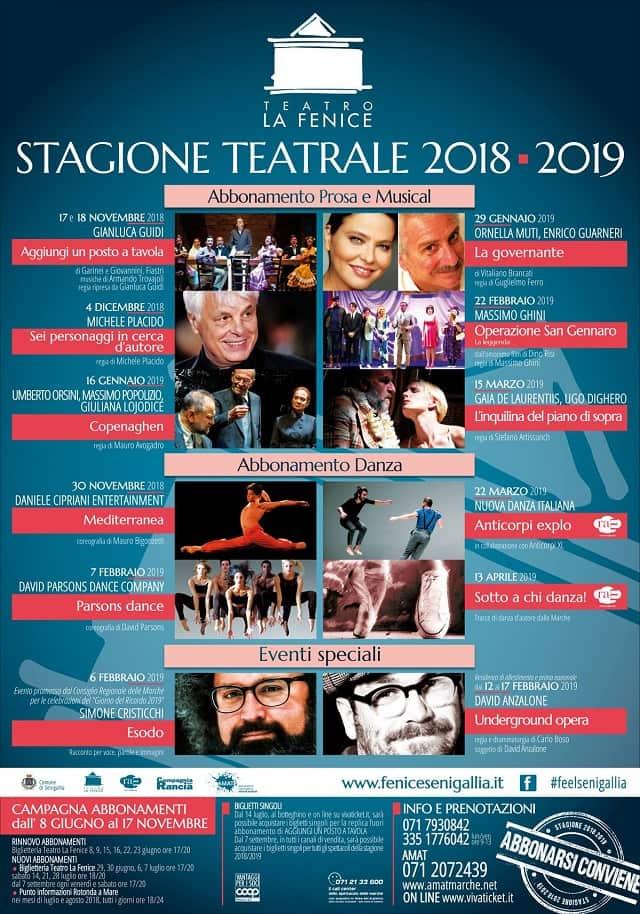 Il cartellone 2018/19 della stagione teatrale al Teatro La Fenice Senigallia