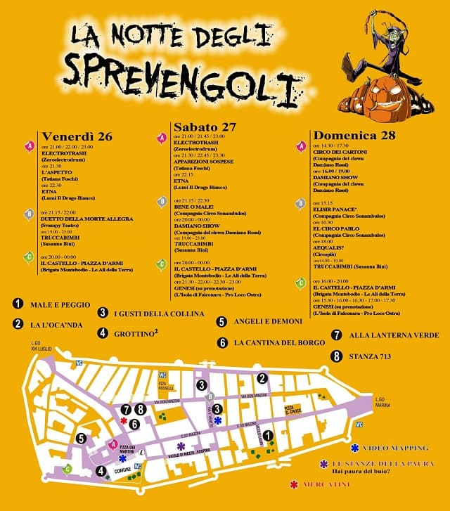 Locandina e programma de La Notte degli Sprevengoli 2018 di Ostra