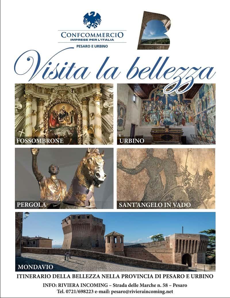 La locandina degli Itinerari della Bellezza di Pesaro-Urbino