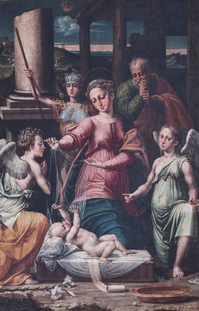 Raffaellino del Colle Madonna del Velo con gli Arcangeli Gabriele,Raffele e Michele 1531-32 Urbania Museo Leonardi