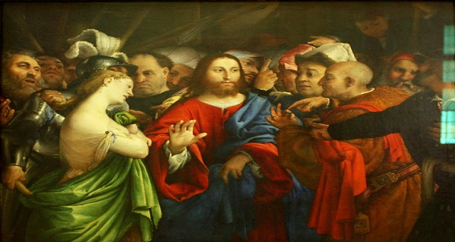 :Lorenzo Lotto - The adulterous woman - Louvre