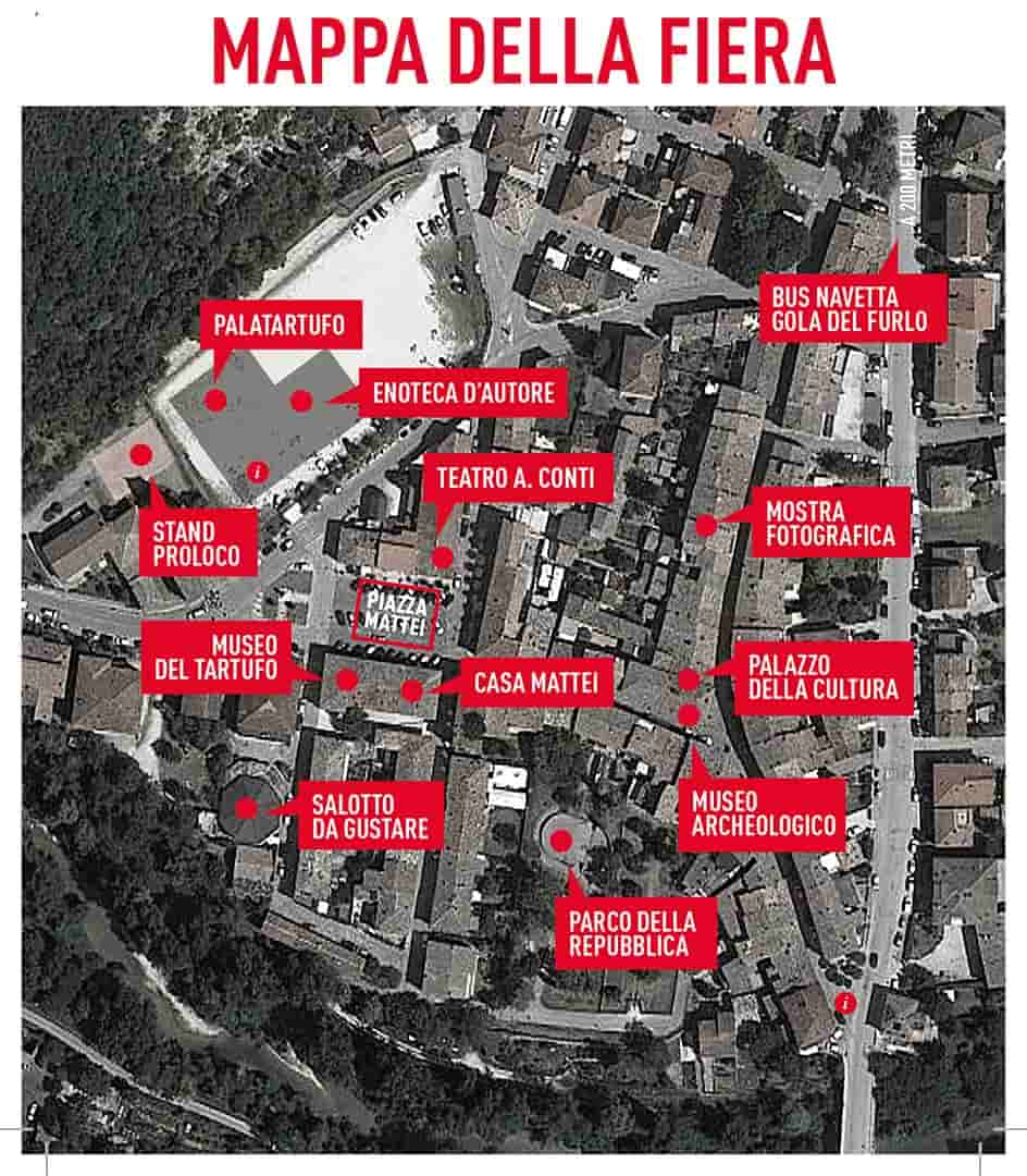 Acqualagna: mappa Fiera del Tartufo